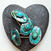 Antique Arts and Crafts cufflinks, silver, turquoises, enamel and gold.
