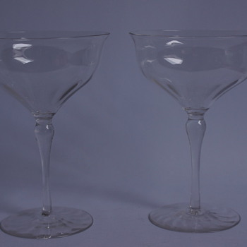 A pair of Whitefriars Champagne Glasses - Art Glass
