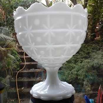 NAPCO, MILK GLASS CANDY PEDASTOOL BOWL - Glassware