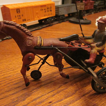 Antique German Sulky Race Horse Wind-Up... - Games