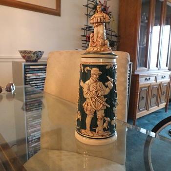 Old Figural Lidded Stein, Bar Maid, Hunting Motif