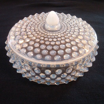 VERY RARE &HTF FENTON FRENCH OPALESCENT HOBNAIL LOW CANDY JAR NO. 3880 - Glassware