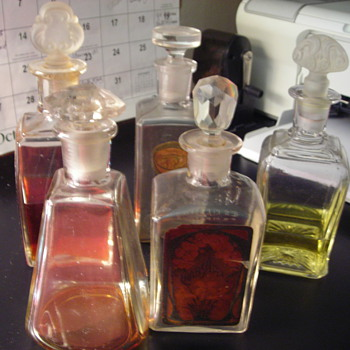 Perfume decanters from my Grandfather's Pharmacy - Bottles