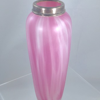 Unknown Bohemian Pink Satin Swirl Sterling Rim Vase  - Art Glass