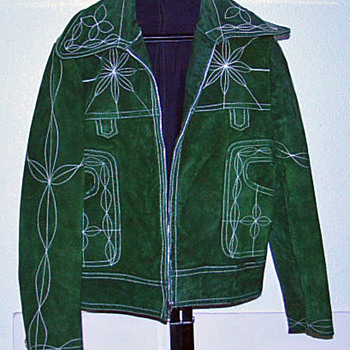 Vintage 1960's Rockabilly Western Green Suede Jacket Custom Tailored by Eleganza - Womens Clothing