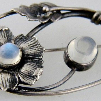 Vintage Deco Moonstone Leaf Brooch Sterling Pin