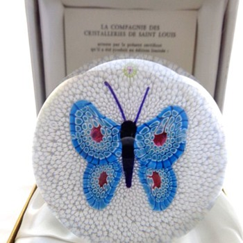 St Louis Paperweight 1982 Blue Butterfly on White Stardust Ground - Art Glass