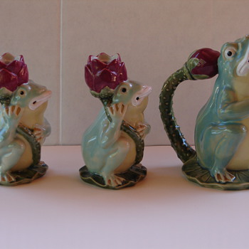 Majolica Frog Pitcher and Two Candlesticks - Art Pottery