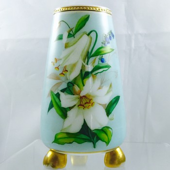 Victorian Harrach Enamelled Ball Footed Vase, ca 1870's - Art Glass