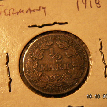 1918 Germany 1/2 Mark - World Coins