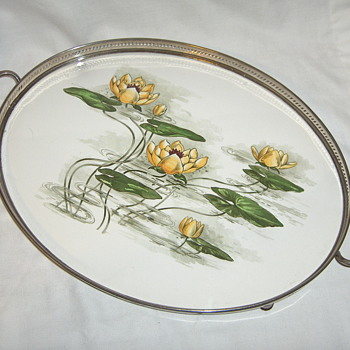 Series of German Serving Trays - #4 Galleried Handled White Metal & Porcelain