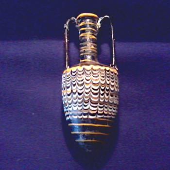 "Small 6"" Glass Amphora Bottle / Yellow Zig Zig Pattern/ Unknown Maker and Age - Art Glass"