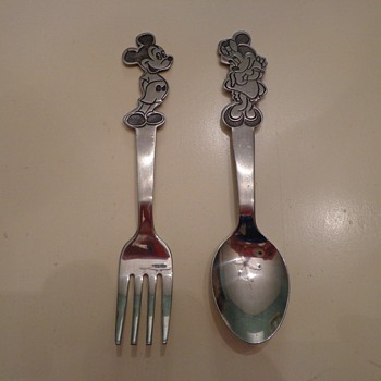 Bonny Walt Disney Stainless Mickey & Minnie Mouse Fork & Spoon Vintage Free Ship