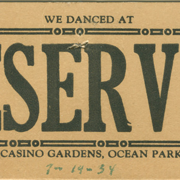 table card from the Tommy Dorsey's Casino Gardens in Ocean Park, CA