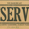 table card from the Tommy Dorsey&#039;s Casino Gardens in Ocean Park, CA