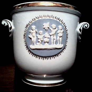 Inarco Jardinere / White and Gilt Porcelain with Wedgwood Style Panels/ Circa 1963 - Pottery