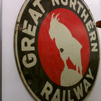 Great Northern Locomotive sign - Railroadiana