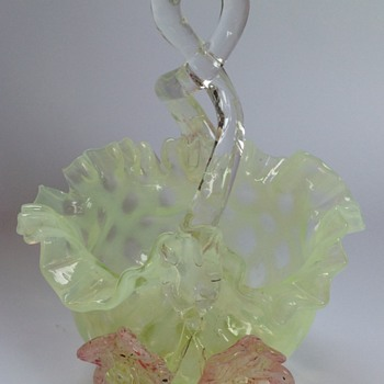 Victorian uranium glass lattice pattern basket with applied flowers
