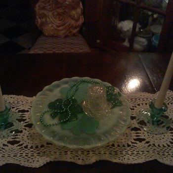 St. Patrick's Display of Vintage Glass