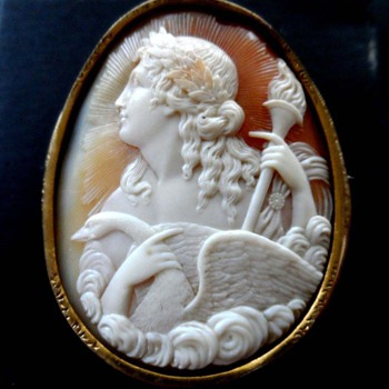 Rare cameo of Apollo with swan - Victorian Era