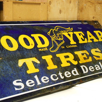 GOOD YEAR TIRE made in Canada PORCELAIN SIGN - Signs