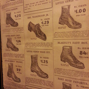 Cobbler supplies and shoes from 1908 Sears Roebuck catalog