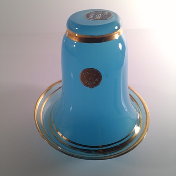 Aqua Opaline Ferro Murano Glass Made In Italy with Gold Rim   - Art Glass