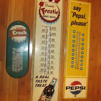 3 Vintage soda thermometer advertisements! - Advertising