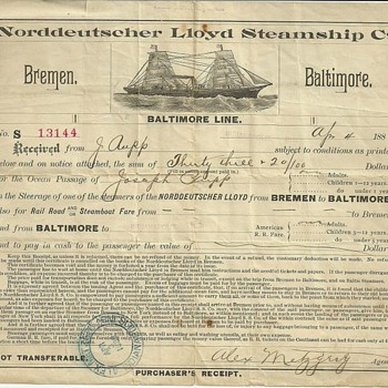Norddeutscher Lloyd Steamship Co, Baltimore Line Ocean Passage Ticket - Paper