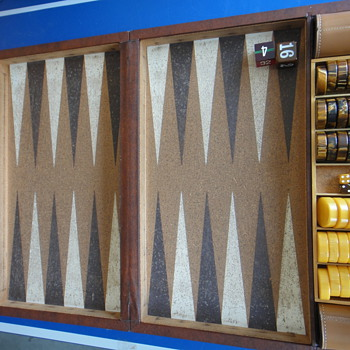 antique bakelite backgammon boards with cork inlay