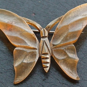 Butterfly/Moth Hand-Carved Horn Brooch From France - Costume Jewelry