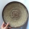 Large Sgraffito Art Pottery Charger Bowl Signed Impressed M or W