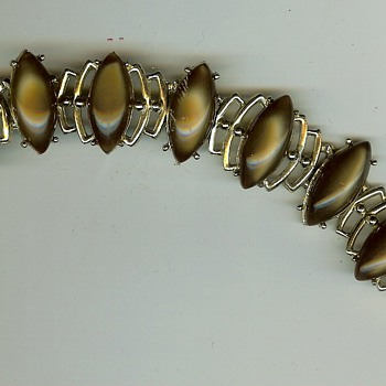 Unknown '60's / '70's ? Stone Link Bracelet - Costume Jewelry
