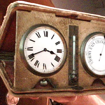 realy old possibly swiss made travel clock w  barometer - Clocks