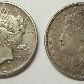 1921 Peace and Denver Morgan Dollar.
