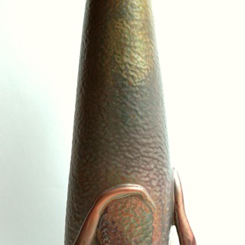 large DELPHIN MASSIER  art nouveau vase  with metallic glaze.