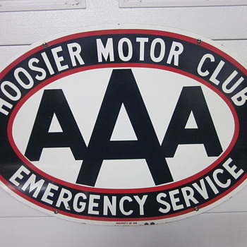 AAA Hoosier Motor Club Porcelain Sign - Signs