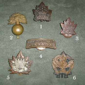 WWI Canadian Cap Badges and Shoulder Title - Military and Wartime