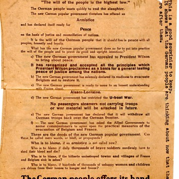 WWI German Airdropped Peace Proposal - Military and Wartime