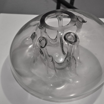 Modernist handblown mystery glass vase looks like Art Glass Whirlpool Vase by Robert Fritz - Art Glass