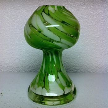 Vintage Art Glass Chartreuse & White Splatter Vase - Art Glass