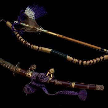 Meiji Period Japanese Boys Day Doll Sword & Bow