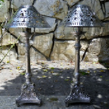 silver plated candlesticks 2 feet tall ,3 feet tall with shades - Lamps