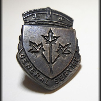 Canadian General Service Lapel Pin ~ WWII ~ Sterling ~ Imprisonment Clause ~