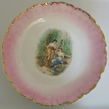 Pink and Gold Porcelain Bowl with Women in Garden Scene +Green Potters Mark