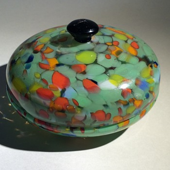 Czech Bohemian Spatter Lidded Bowl - Art Glass