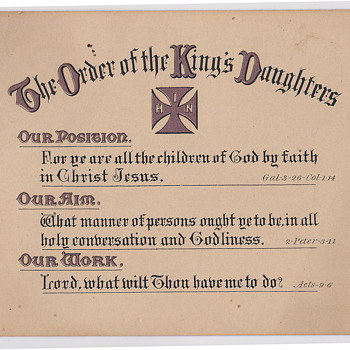 The order of the Kings Daughters membership card 1890 - Victorian Era