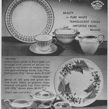 Franconia China Advertisements - Advertising