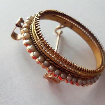 Antique 18K Rose Gold Seed Pearl Brooch/Pendant Frame
