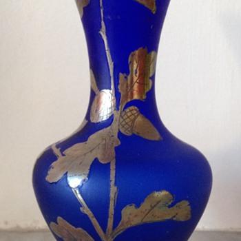 Blue silver-enamelled bud vase - Art Glass